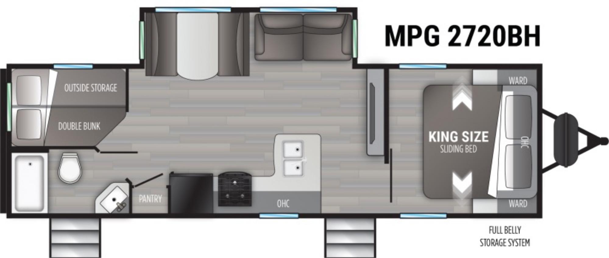 View Floor Plan for 2021 CRUISER RV MPG 2720BH