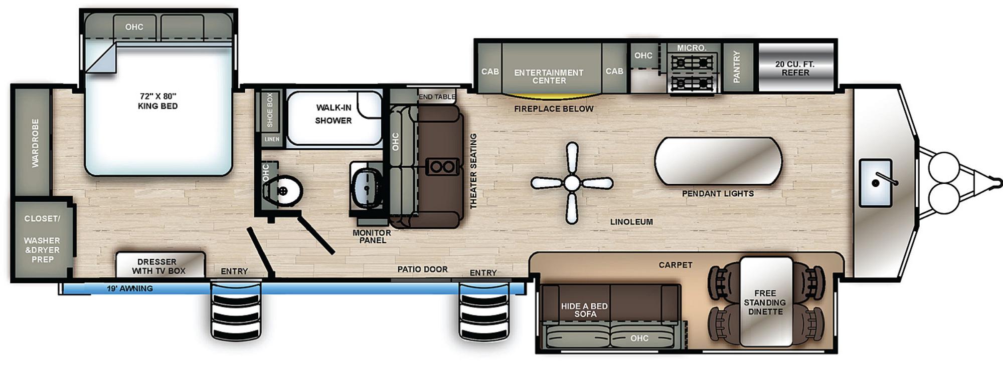 View Floor Plan for 2021 FOREST RIVER SIERRA 402FK