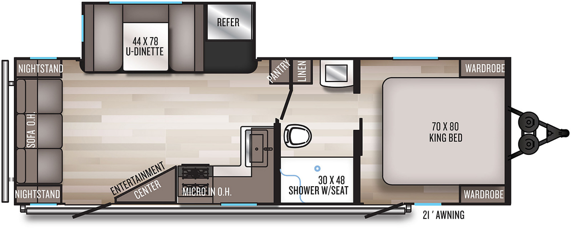 View Floor Plan for 2021 FOREST RIVER SOLAIRE 253RLS