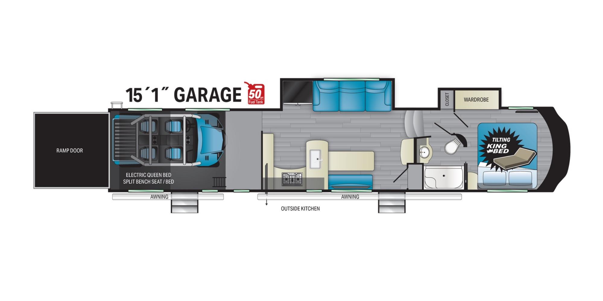 View Floor Plan for 2021 HEARTLAND CYCLONE 4115