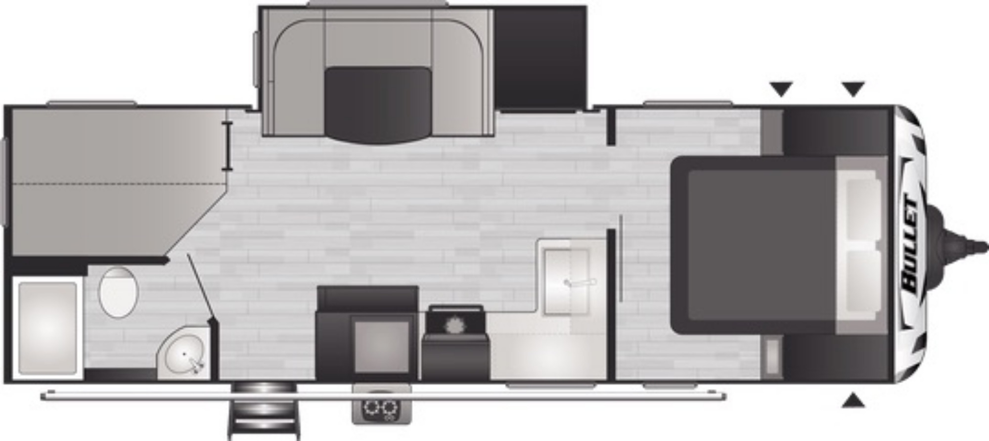 View Floor Plan for 2021 KEYSTONE BULLET 250BHSWE