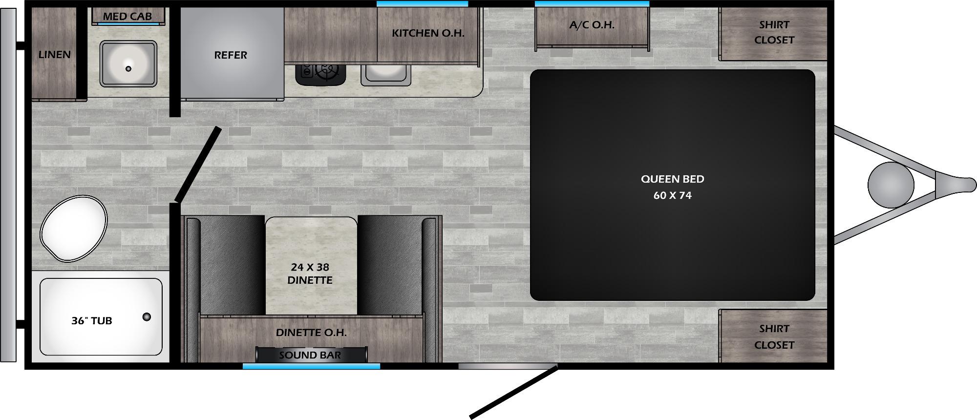 View Floor Plan for 2021 CROSSROADS ZINGER 18RB