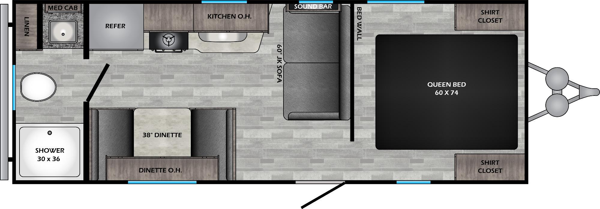View Floor Plan for 2021 CROSSROADS ZINGER 219RB