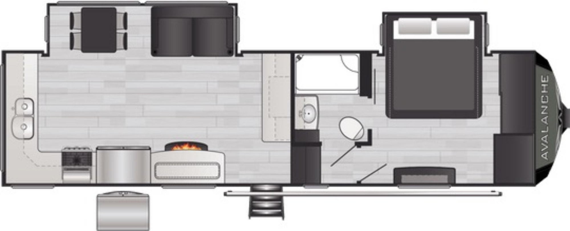 View Floor Plan for 2021 KEYSTONE AVALANCHE 295RK
