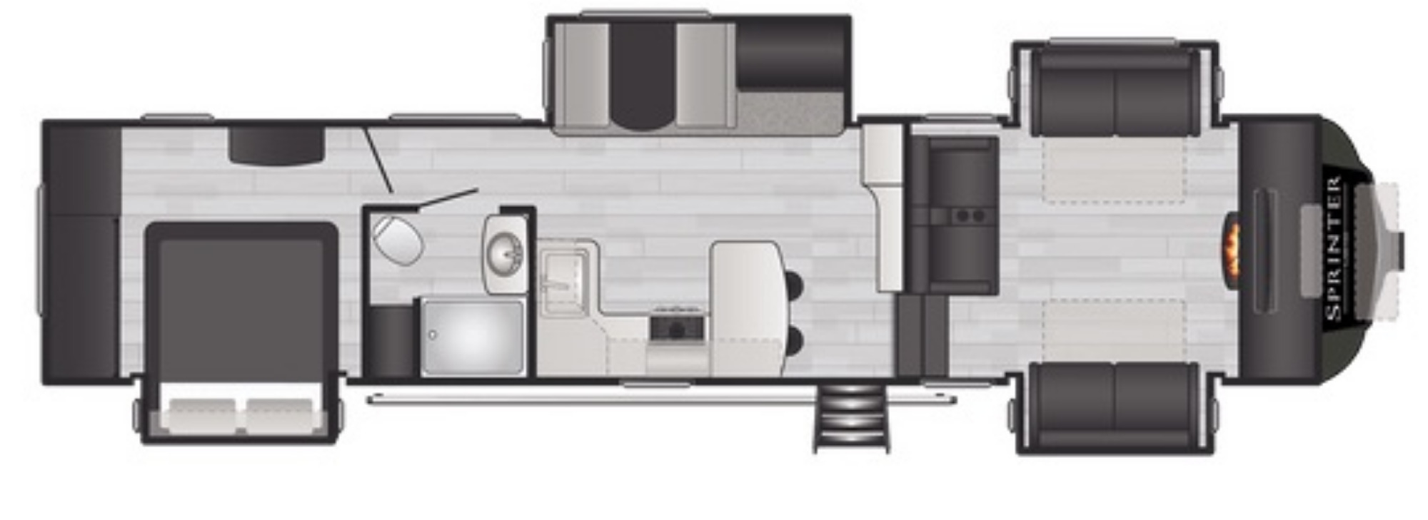 View Floor Plan for 2021 KEYSTONE SPRINTER LIMITED 3670FLS