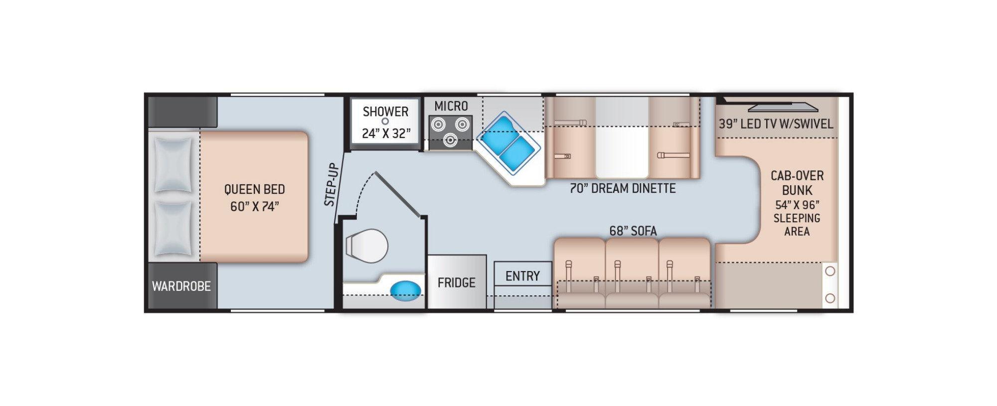 View Floor Plan for 2021 THOR CHATEAU 28A