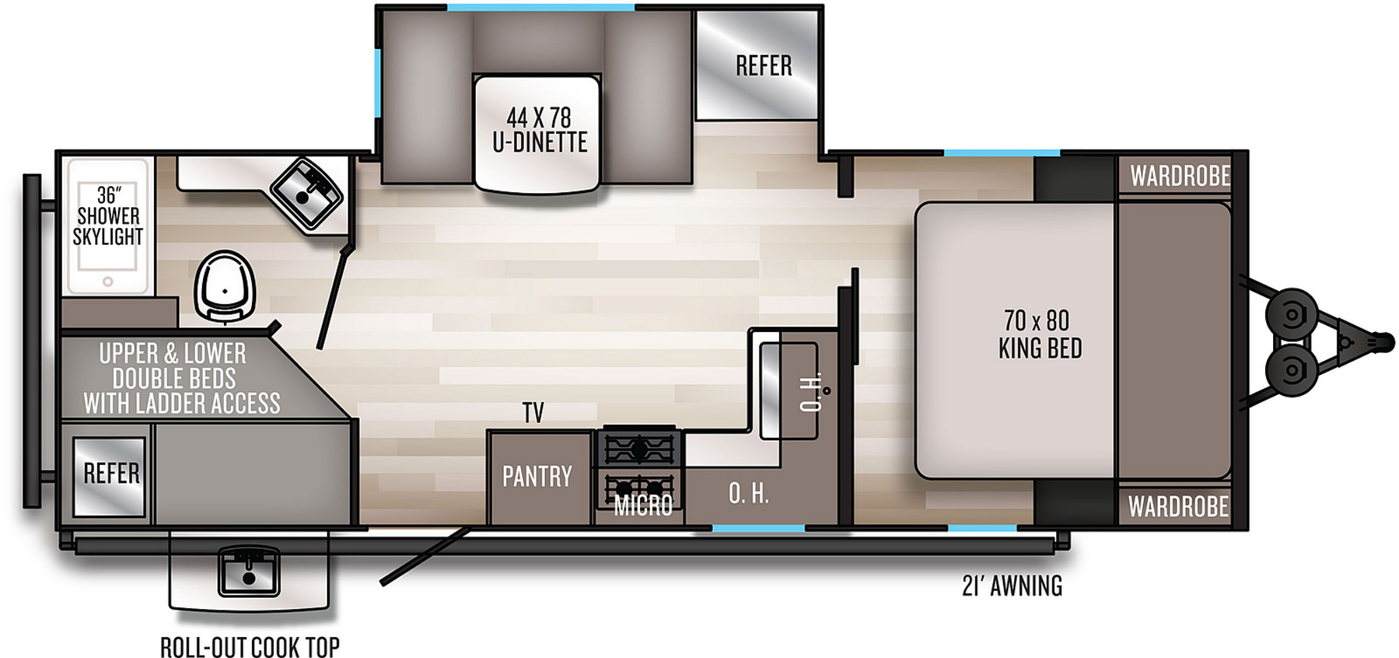 View Floor Plan for 2021 FOREST RIVER SOLAIRE 243BHS