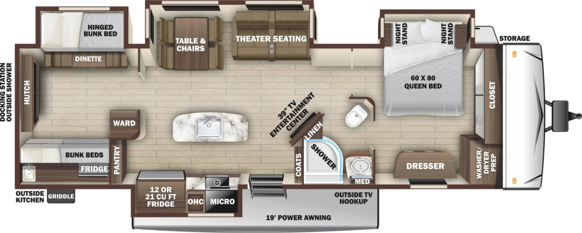 View Floor Plan for 2021 HIGHLAND RIDGE OPEN RANGE 330BHS