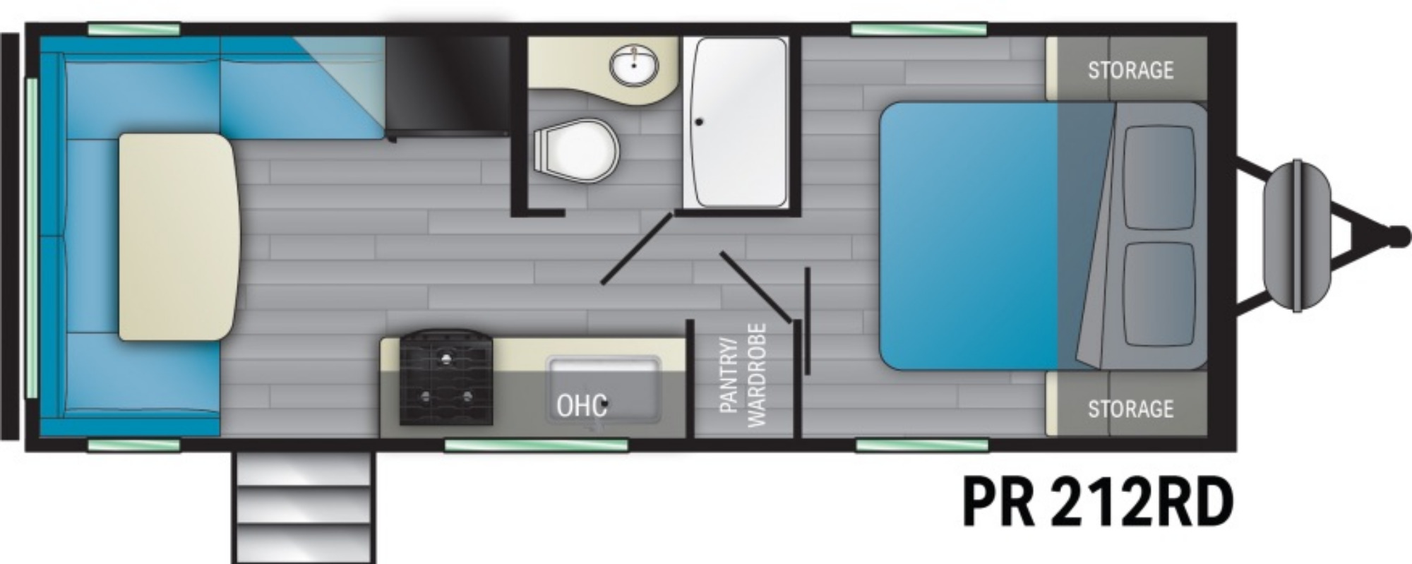 View Floor Plan for 2021 HEARTLAND PROWLER 212RD