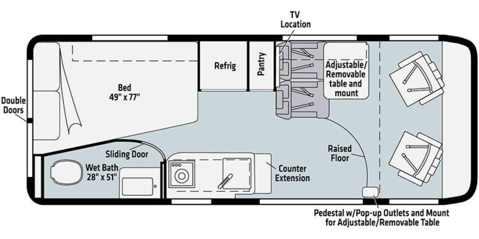 View Floor Plan for 2022 WINNEBAGO TRAVATO 59G