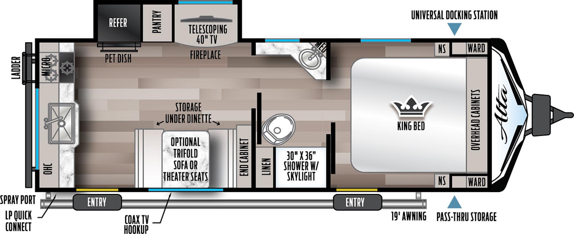 View Floor Plan for 2022 EAST TO WEST ALTA 2350KRK