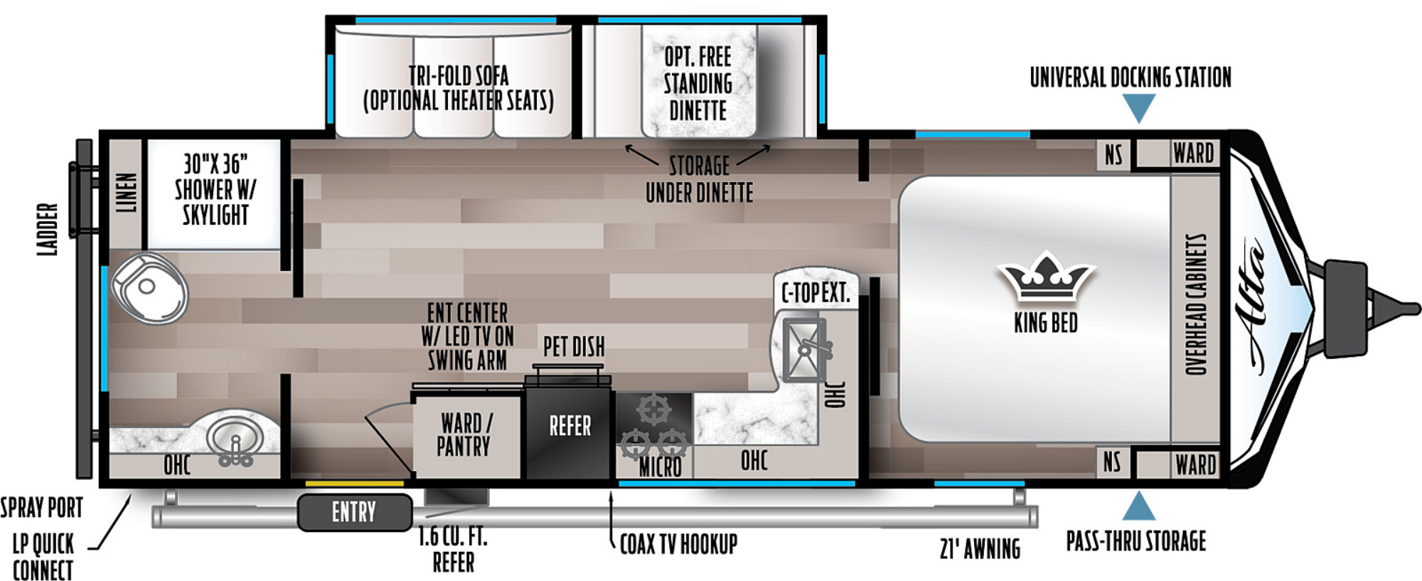 View Floor Plan for 2022 EAST TO WEST ALTA 2600KRB