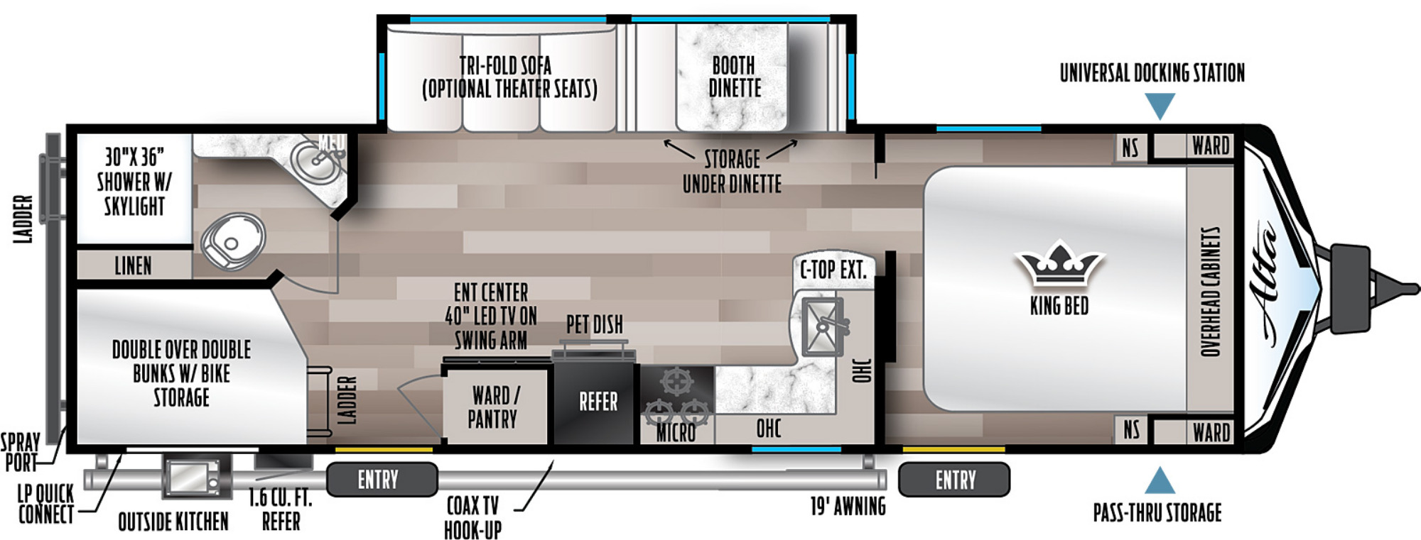 View Floor Plan for 2022 EAST TO WEST ALTA 2800KBH