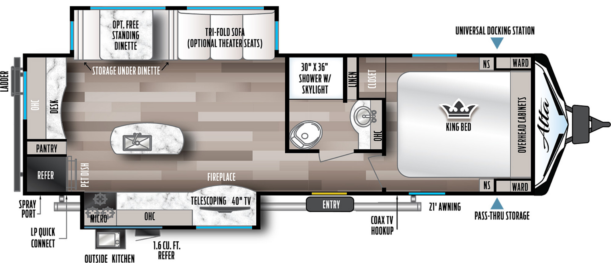 View Floor Plan for 2022 EAST TO WEST ALTA 2810KIK