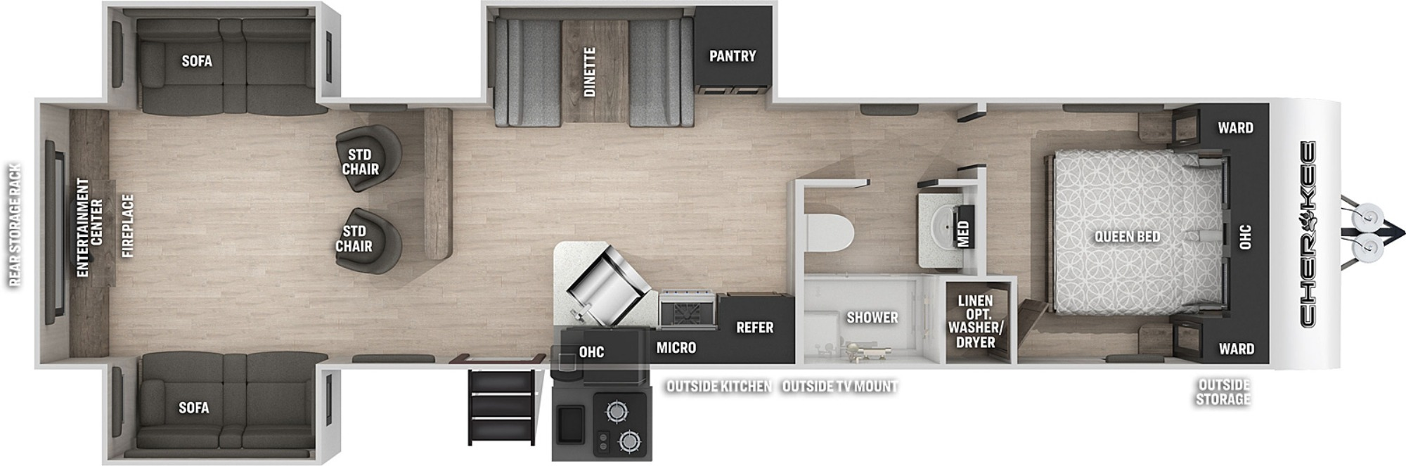 View Floor Plan for 2022 FOREST RIVER CHEROKEE 306MM