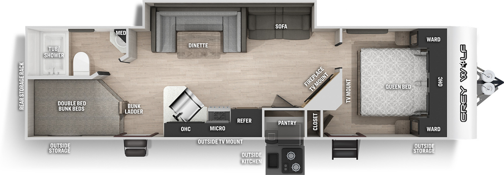 View Floor Plan for 2022 FOREST RIVER GREY WOLF 27DBH