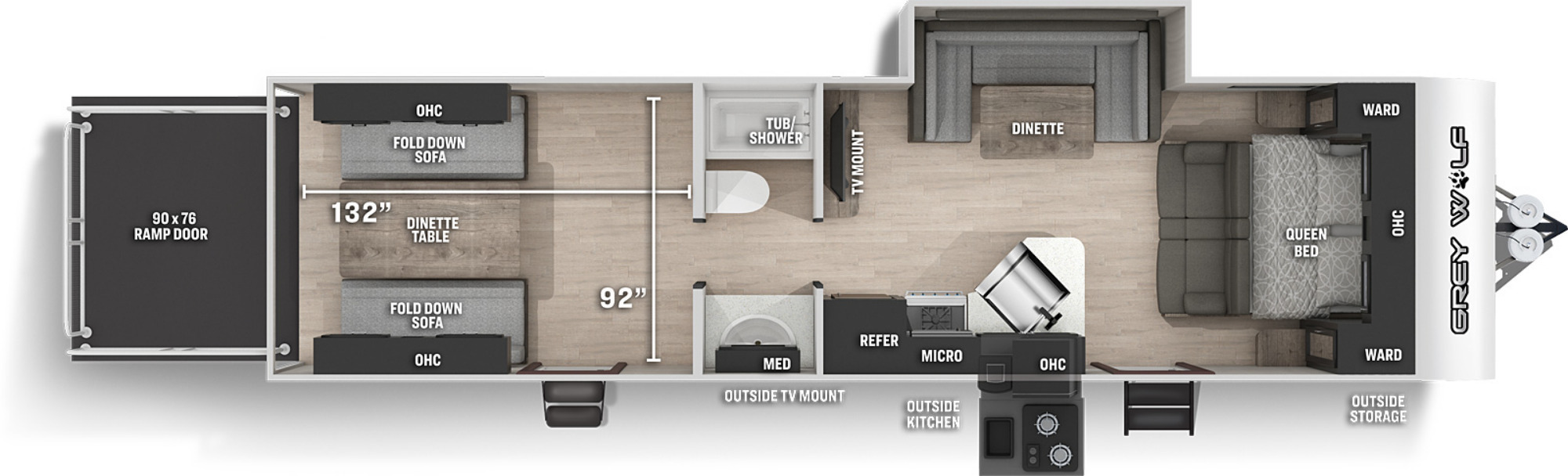 View Floor Plan for 2022 FOREST RIVER GREY WOLF 27RR