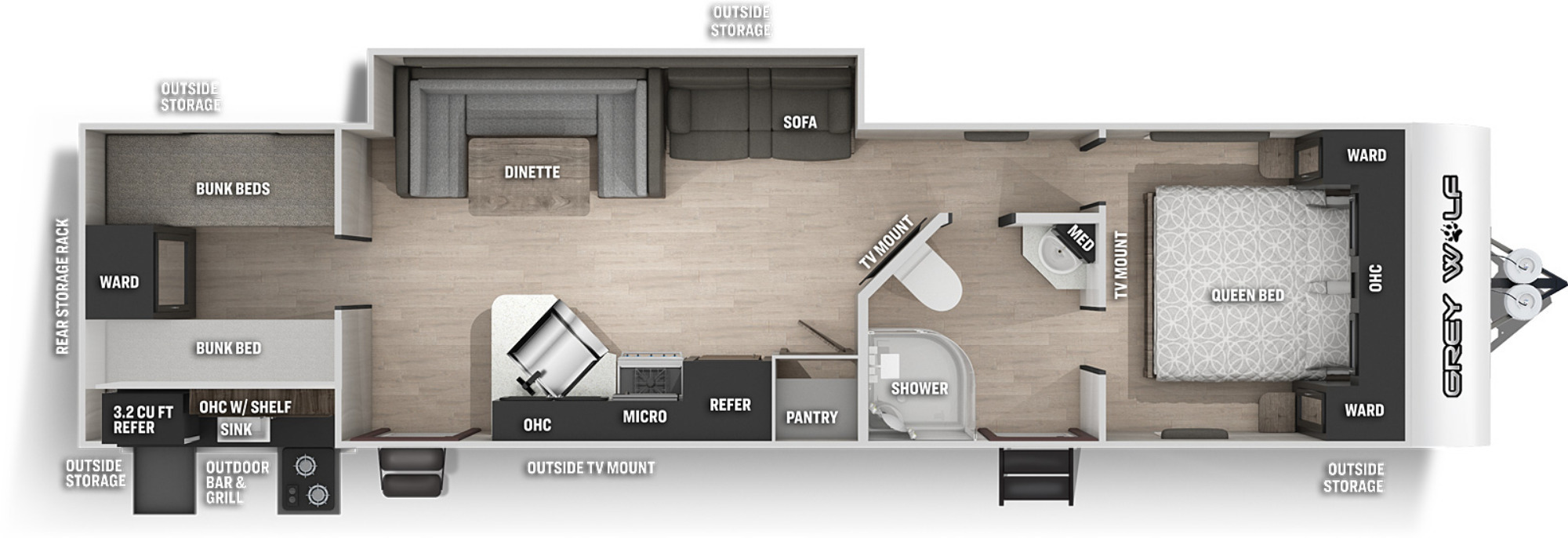 View Floor Plan for 2022 FOREST RIVER GREY WOLF 29TE
