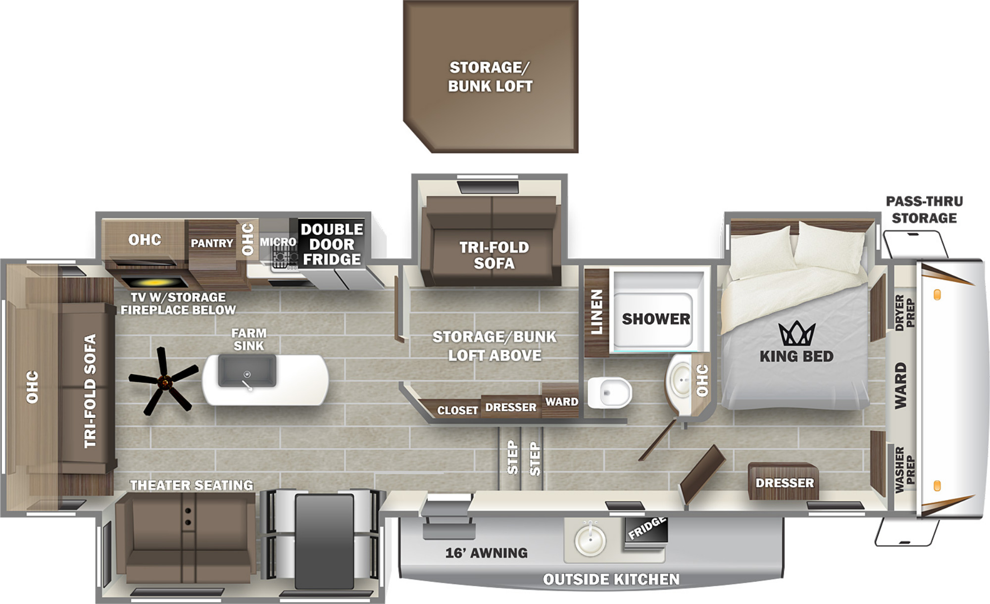 View Floor Plan for 2022 FOREST RIVER SABRE 36BHQ