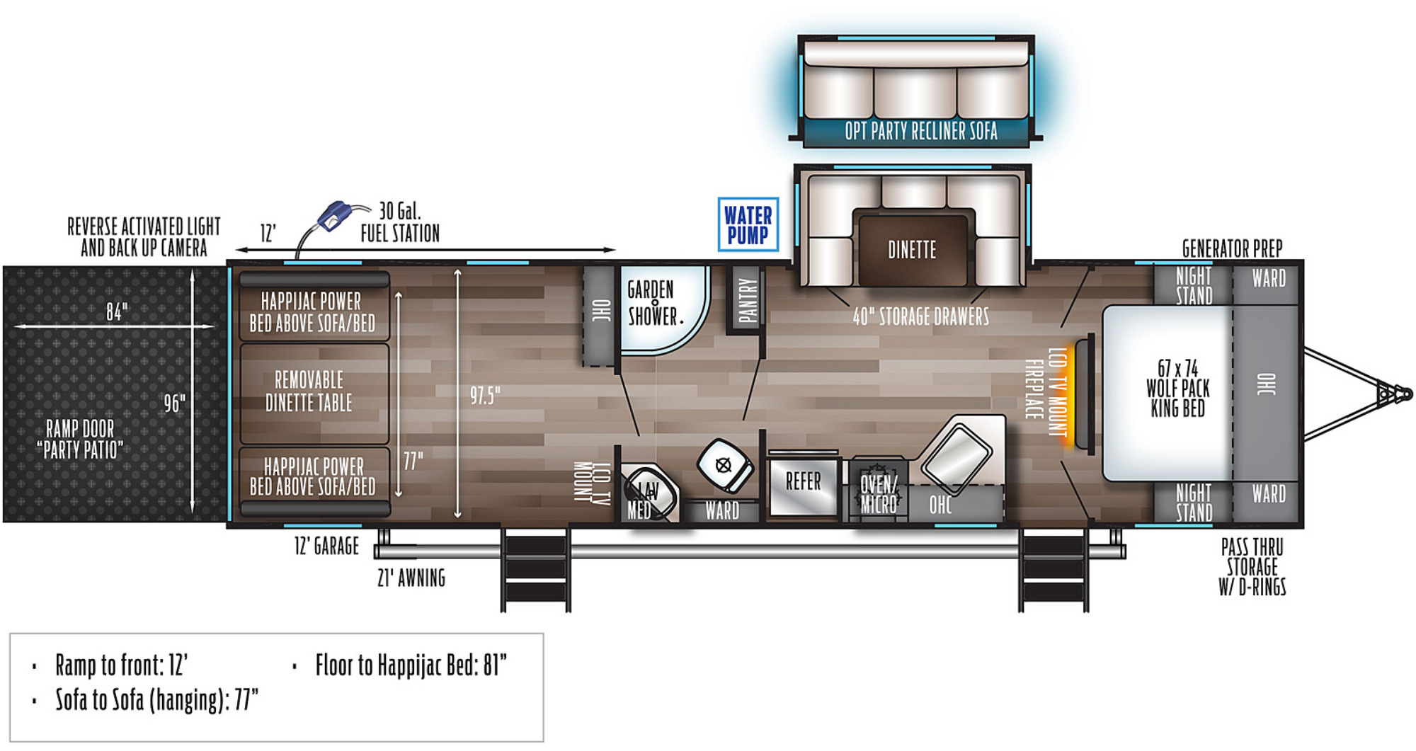 View Floor Plan for 2022 FOREST RIVER WOLF PACK 25PACK12