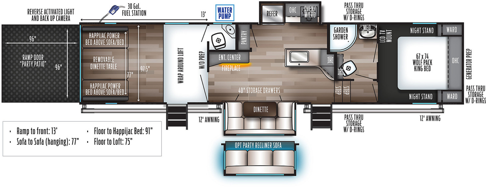 View Floor Plan for 2022 FOREST RIVER WOLF PACK 325PACK13