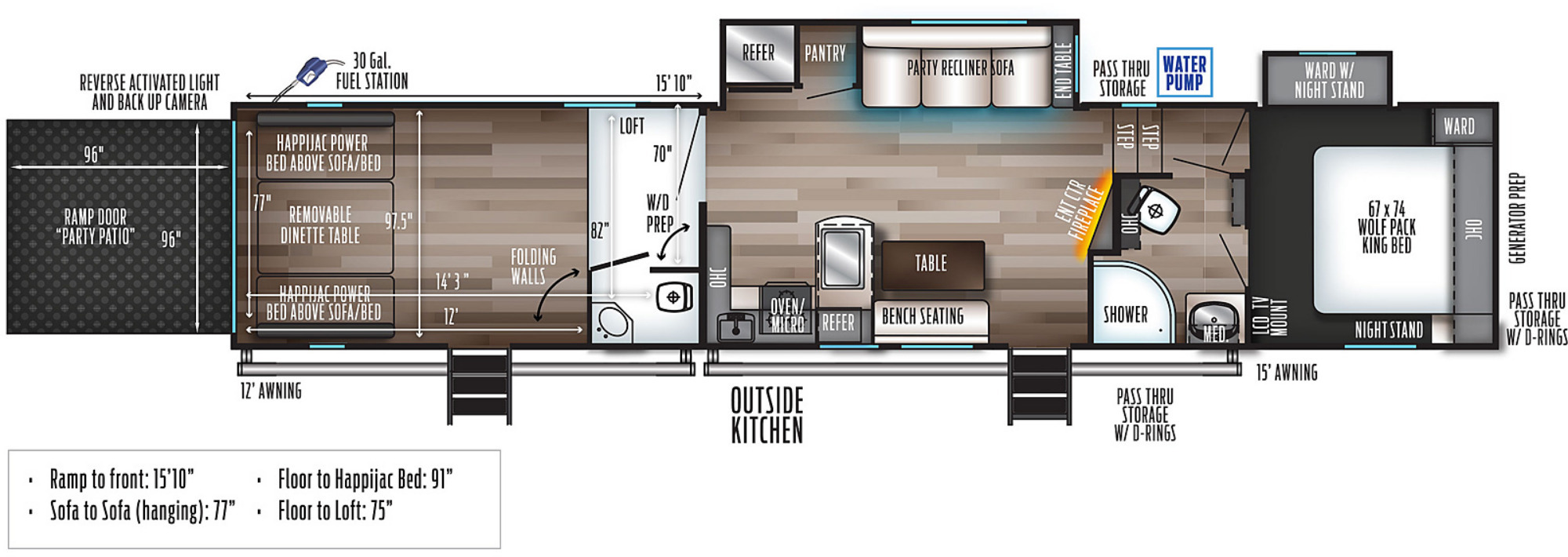 View Floor Plan for 2022 FOREST RIVER WOLF PACK 365PACK16