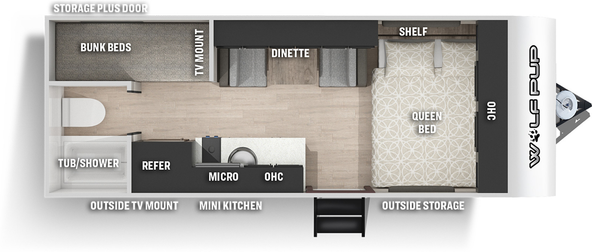 View Floor Plan for 2022 FOREST RIVER WOLF PUP 16BHS