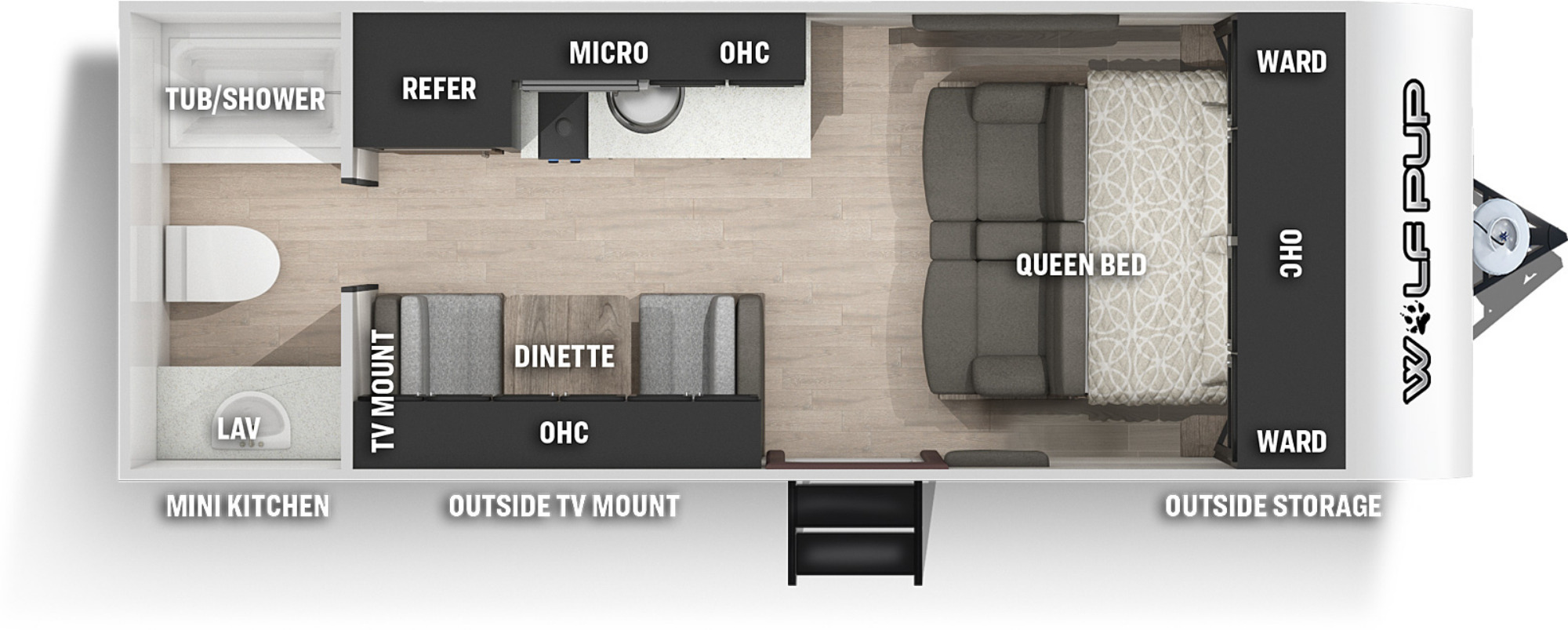 View Floor Plan for 2022 FOREST RIVER WOLF PUP 16FQ