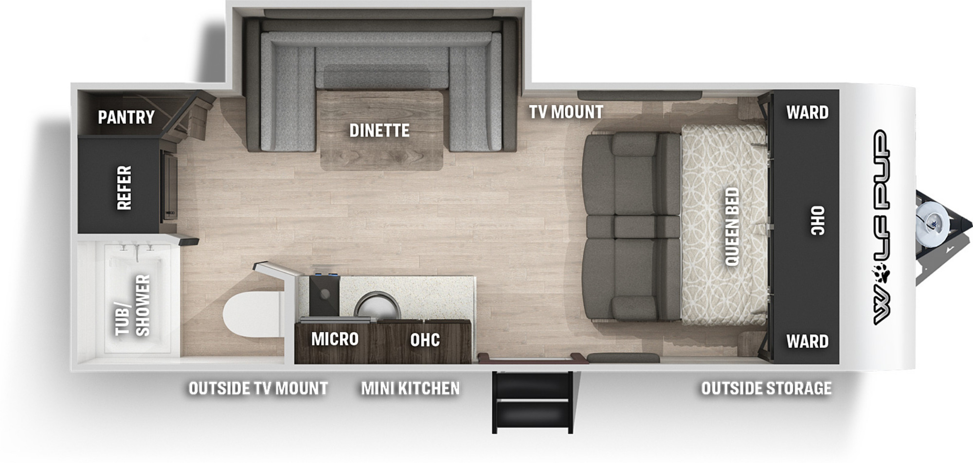 View Floor Plan for 2022 FOREST RIVER WOLF PUP 16PF
