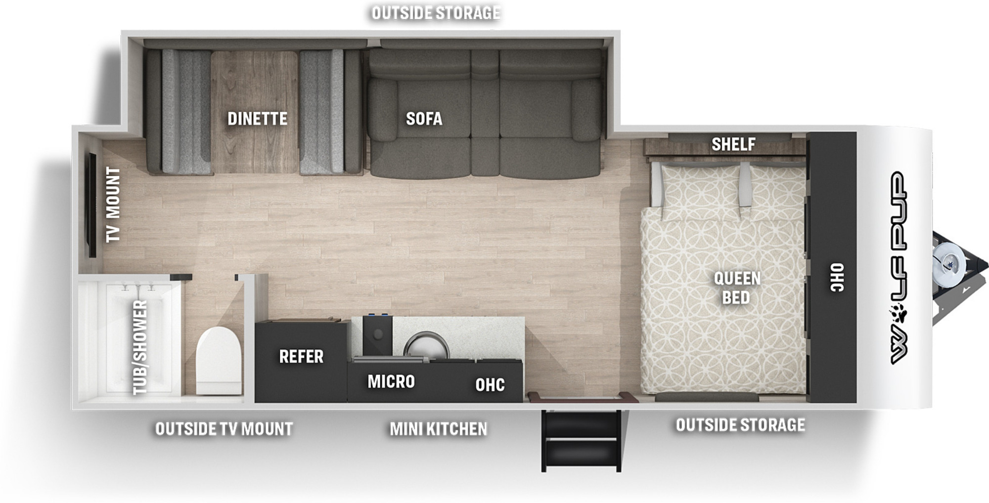 View Floor Plan for 2022 FOREST RIVER WOLF PUP 18TO