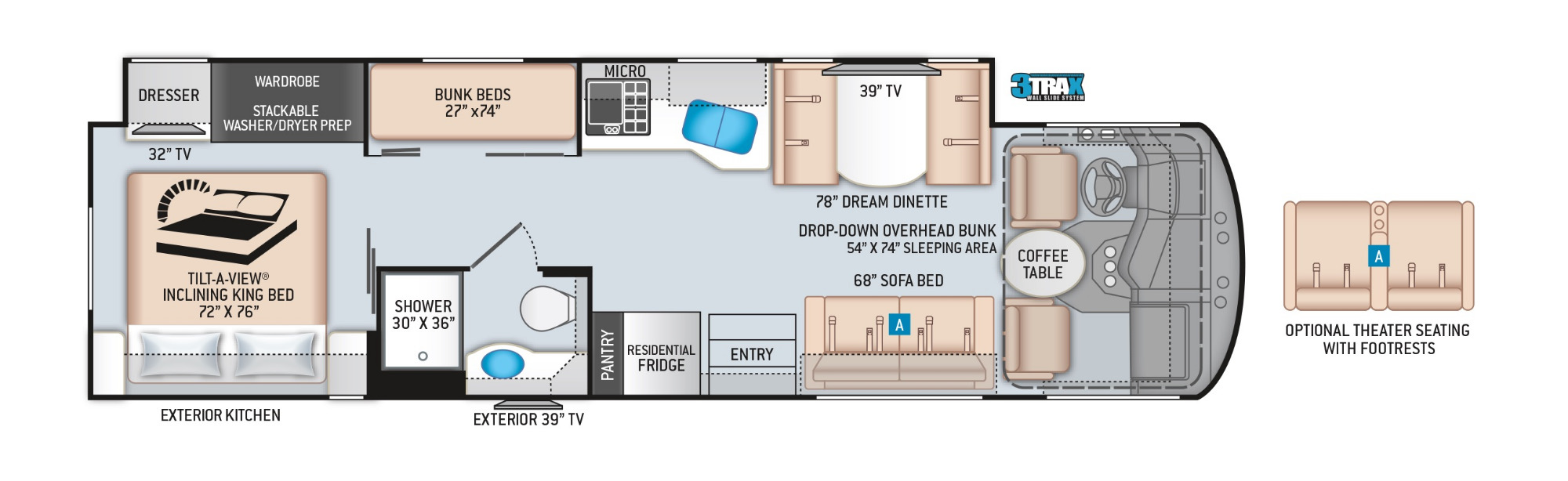 View Floor Plan for 2021 THOR MIRAMAR 34.6