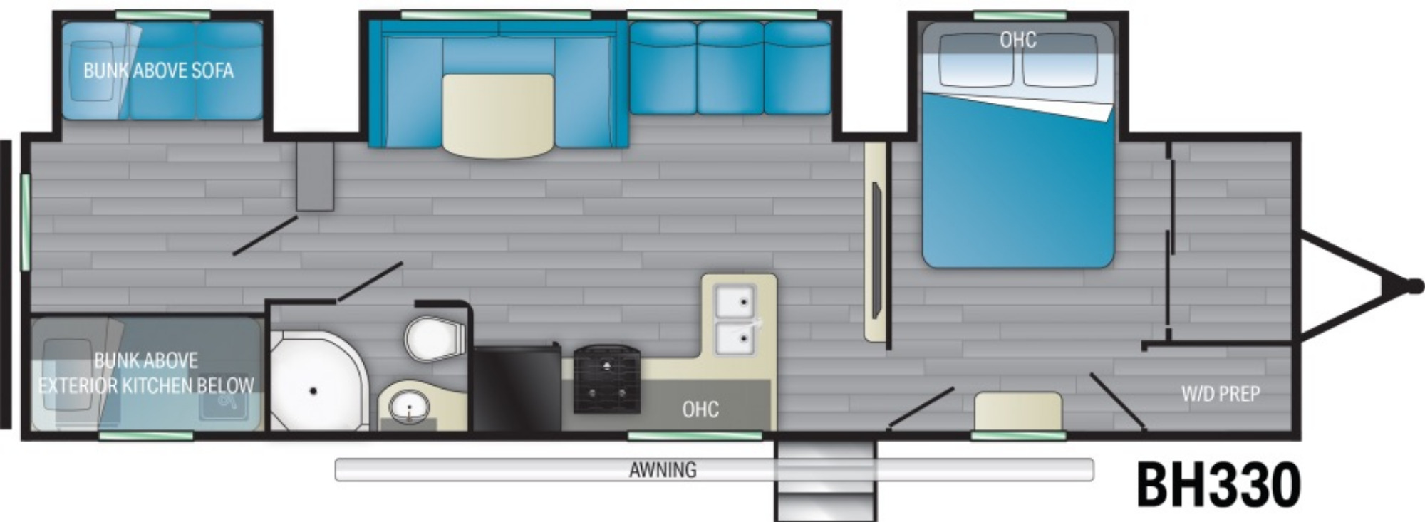 View Floor Plan for 2021 HEARTLAND PIONEER BH330