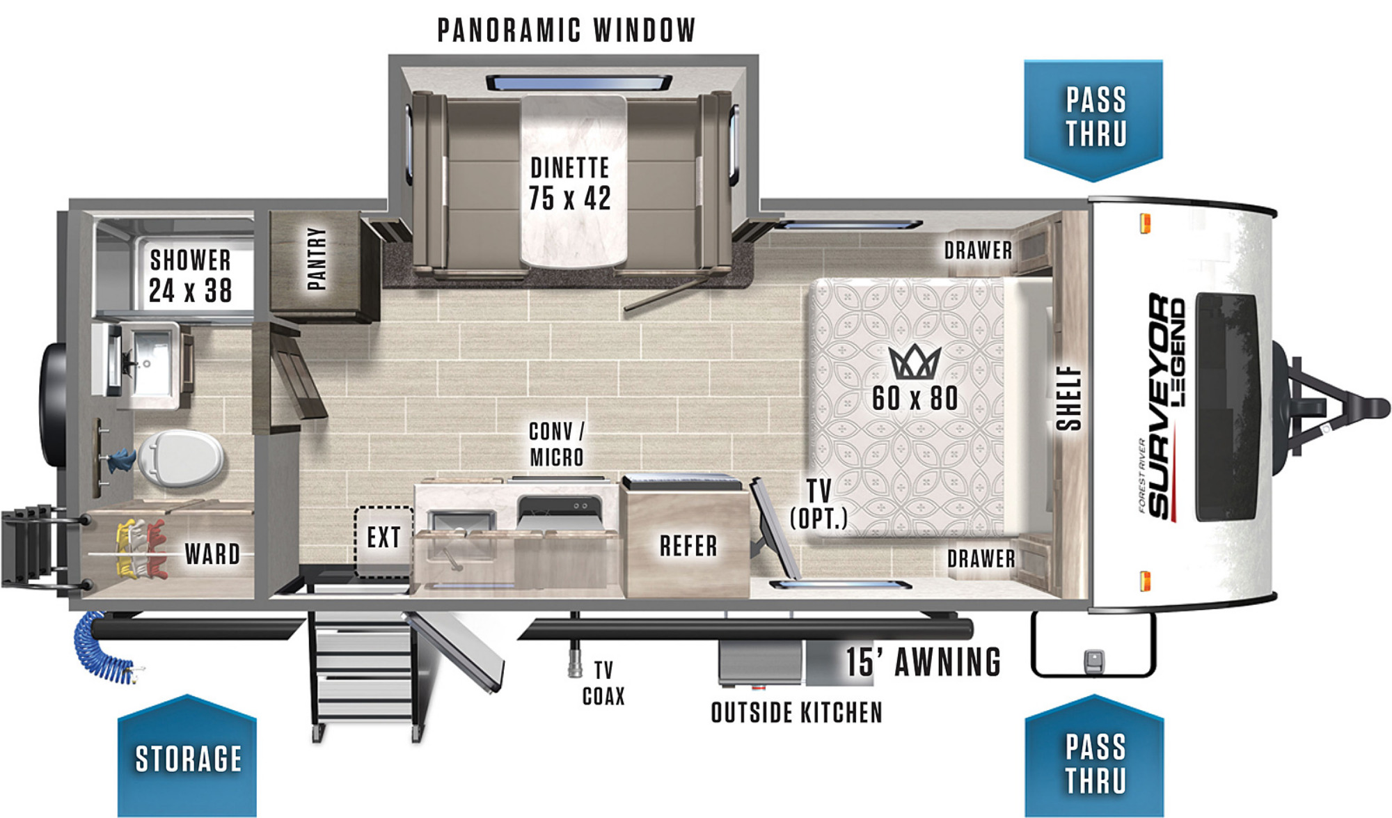 View Floor Plan for 2021 FOREST RIVER SURVEYOR 19RBLE