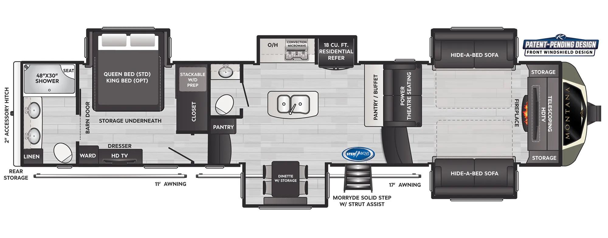 View Floor Plan for 2022 KEYSTONE MONTANA 3761FL