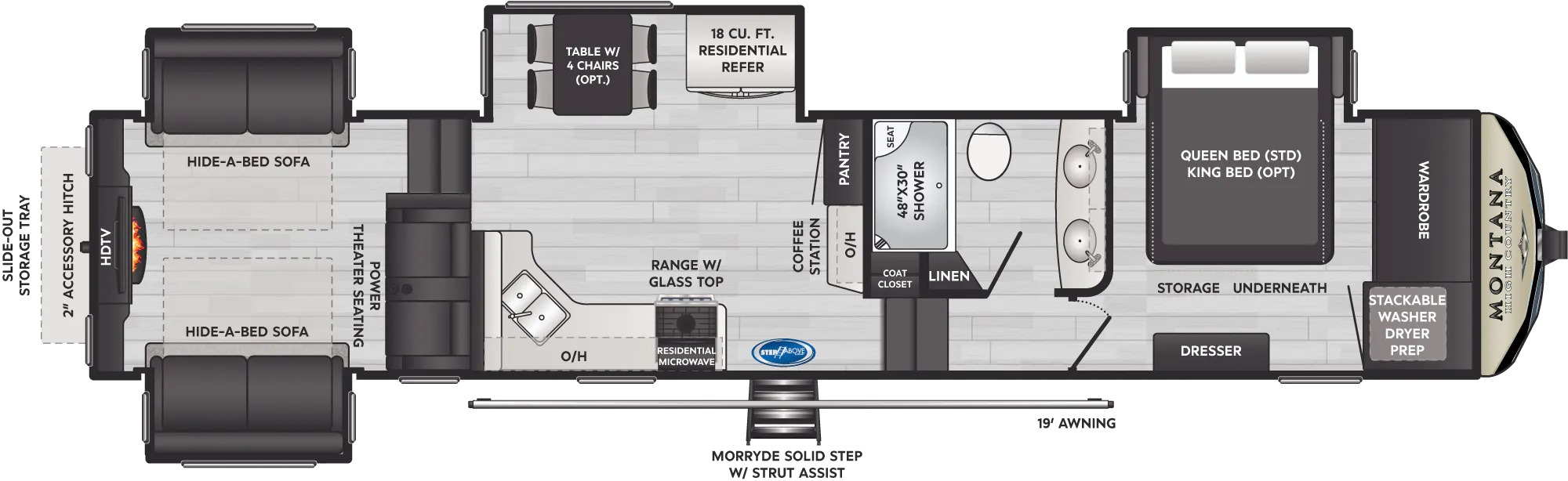 View Floor Plan for 2022 KEYSTONE MONTANA HIGH COUNTRY 373RD