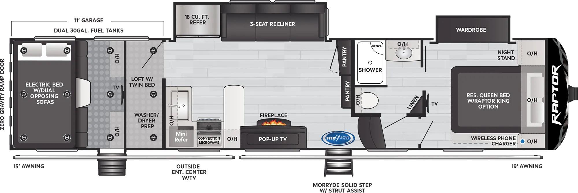 View Floor Plan for 2022 KEYSTONE RAPTOR 351