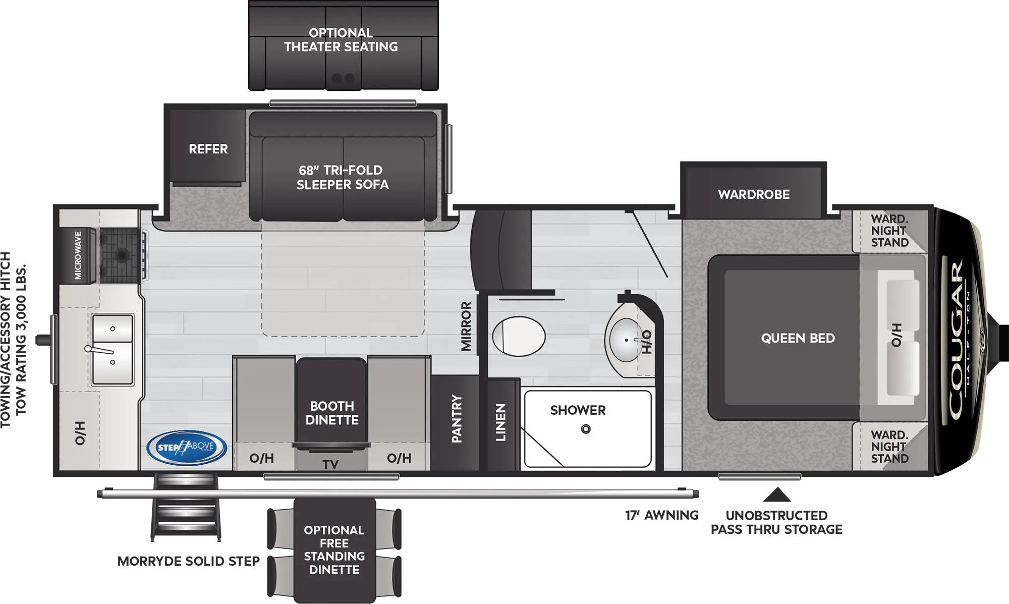 View Floor Plan for 2022 KEYSTONE COUGAR 23MLS
