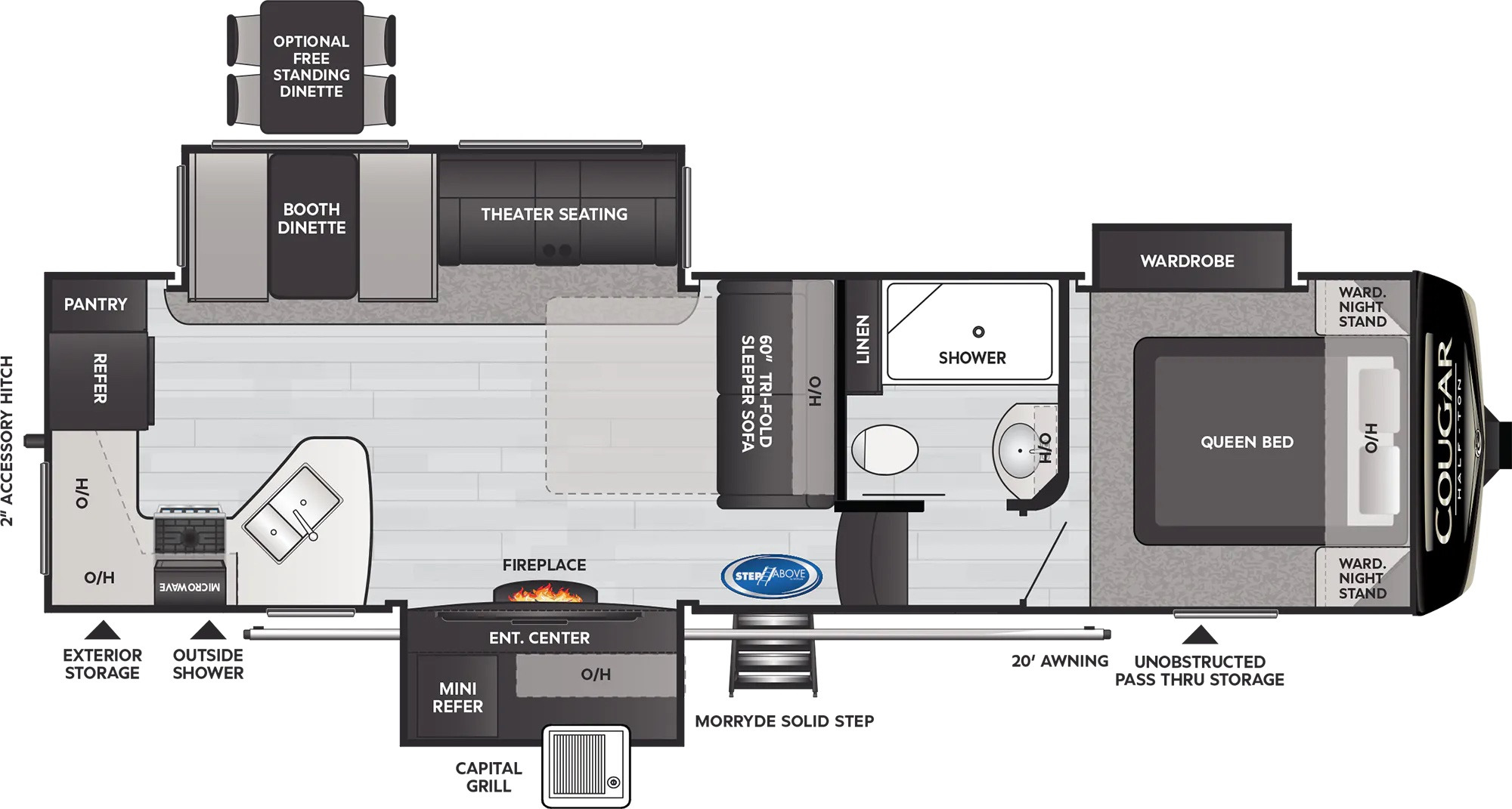 View Floor Plan for 2022 KEYSTONE COUGAR 29RKS
