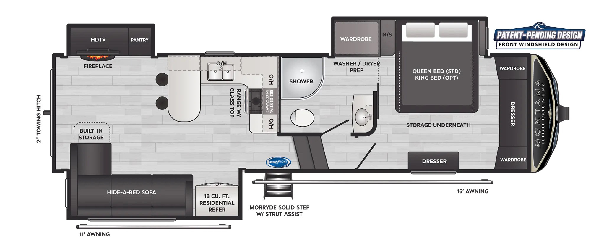 View Floor Plan for 2022 KEYSTONE MONTANA HIGH COUNTRY 281CK