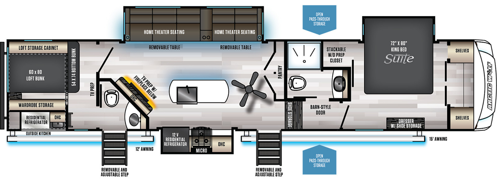 View Floor Plan for 2022 FOREST RIVER ARCTIC WOLF 3770