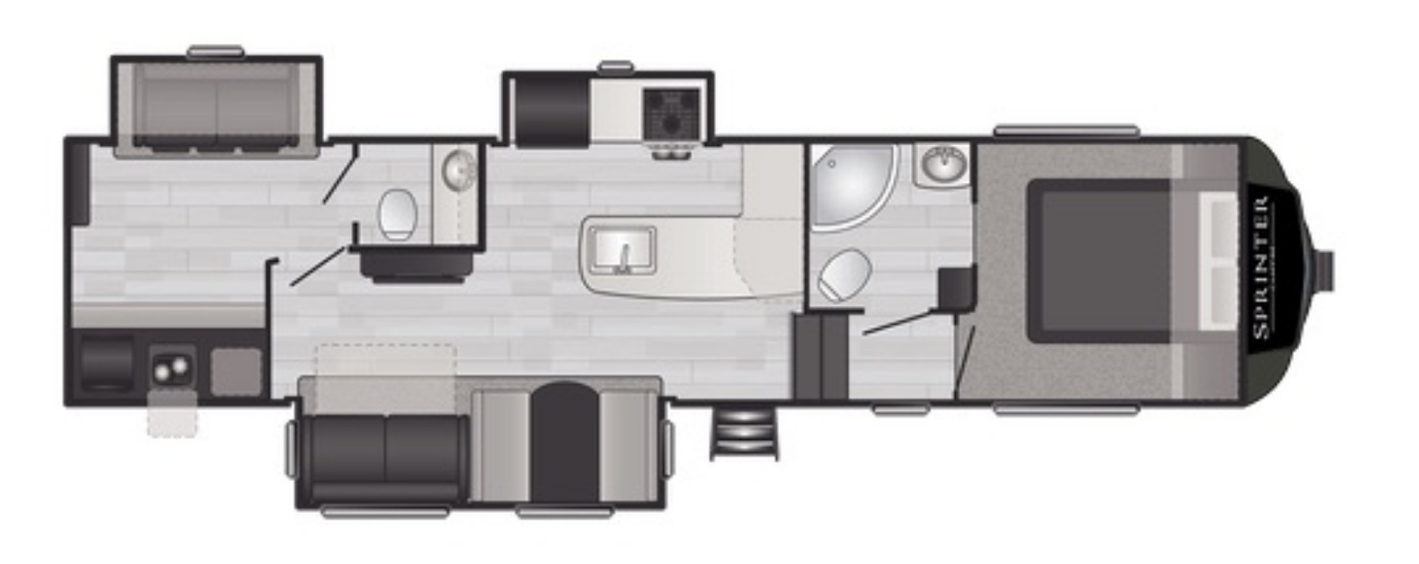View Floor Plan for 2021 KEYSTONE SPRINTER F32BH