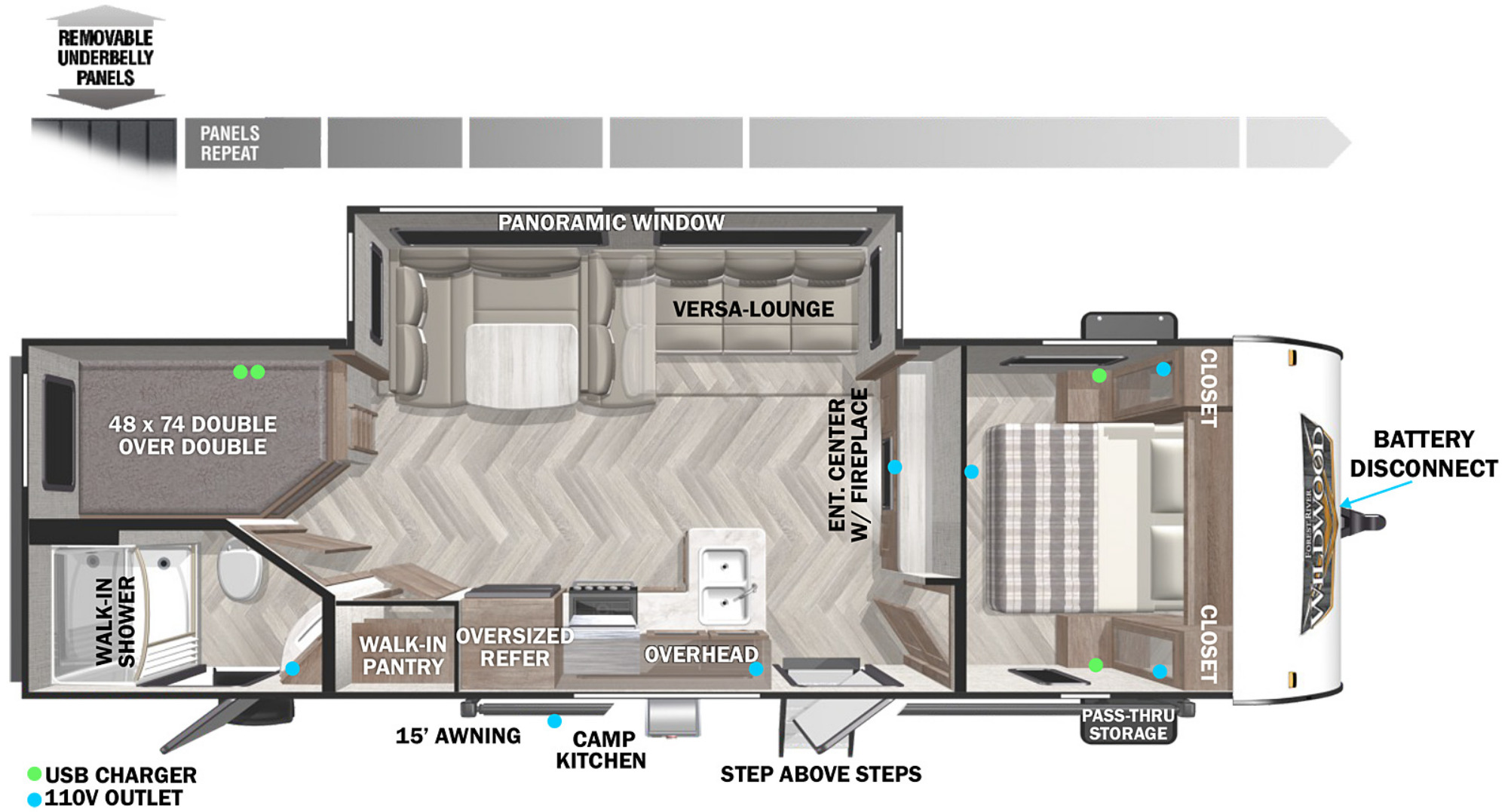 View Floor Plan for 2022 FOREST RIVER WILDWOOD X-LITE 263BHXL