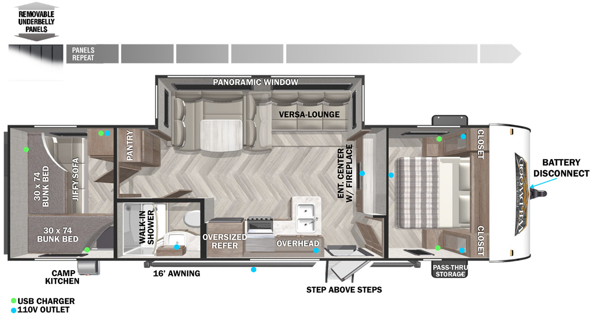 View Floor Plan for 2022 FOREST RIVER WILDWOOD X-LITE 273QBXL