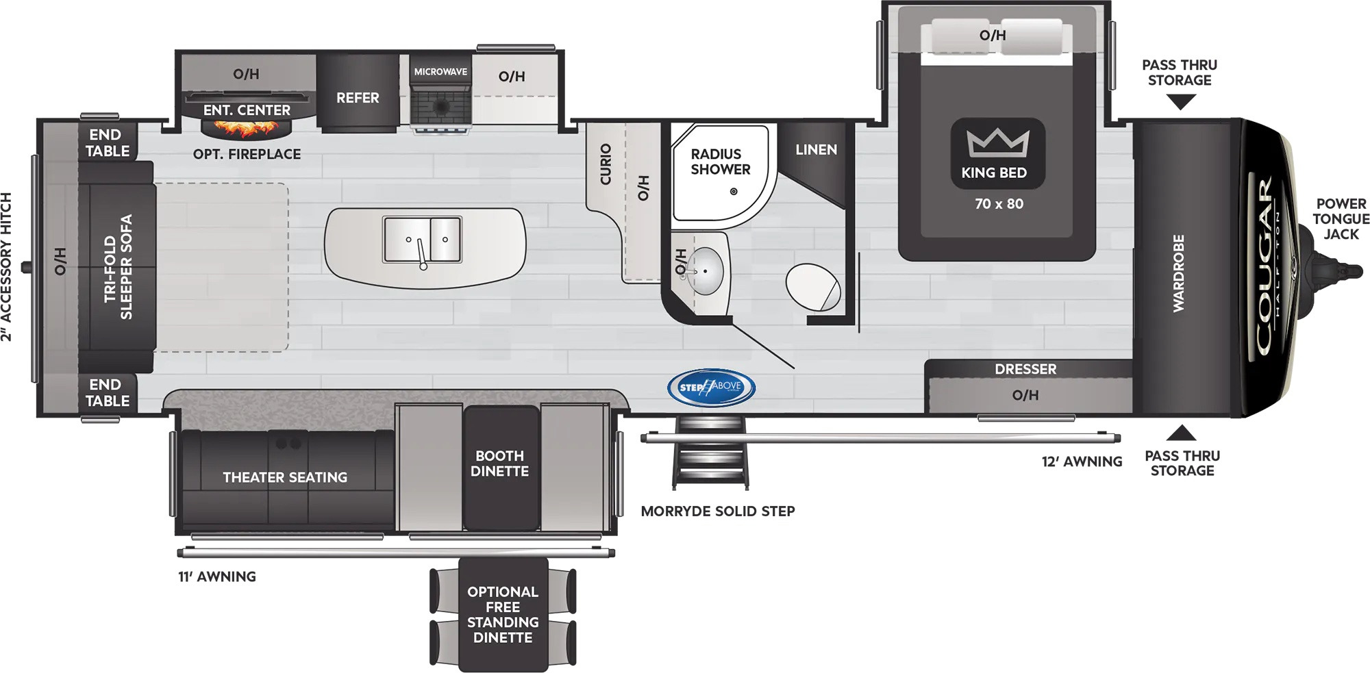 View Floor Plan for 2022 KEYSTONE COUGAR 32RLI
