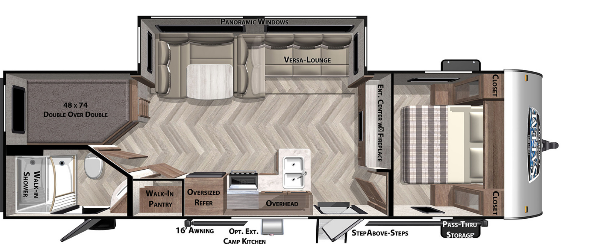 View Floor Plan for 2022 FOREST RIVER SALEM CRUISE LITE 263BHXL