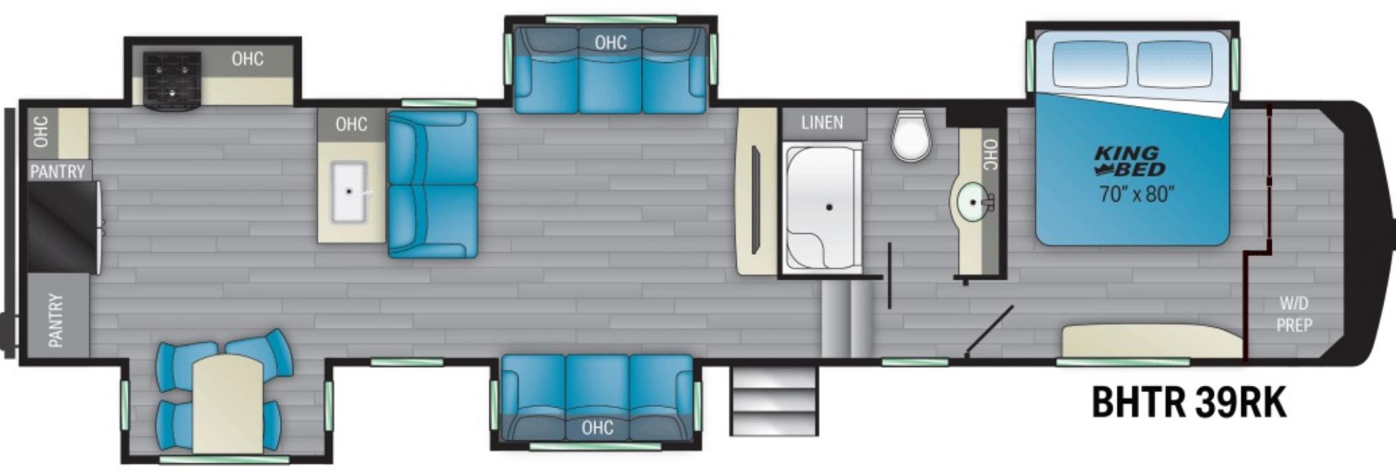 View Floor Plan for 2021 HEARTLAND BIGHORN TRAVELER 39RK