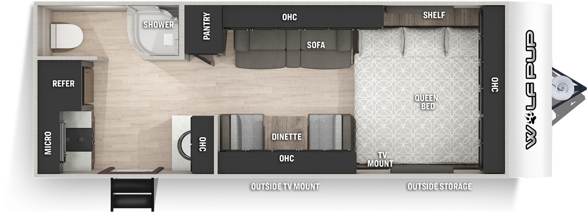 View Floor Plan for 2021 FOREST RIVER WOLF PUP BLACK LABEL 16HEBL