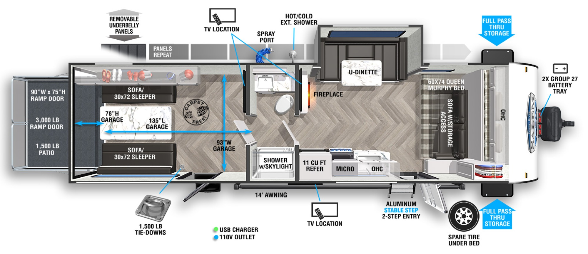 View Floor Plan for 2022 FOREST RIVER SALEM FSX 280RTX