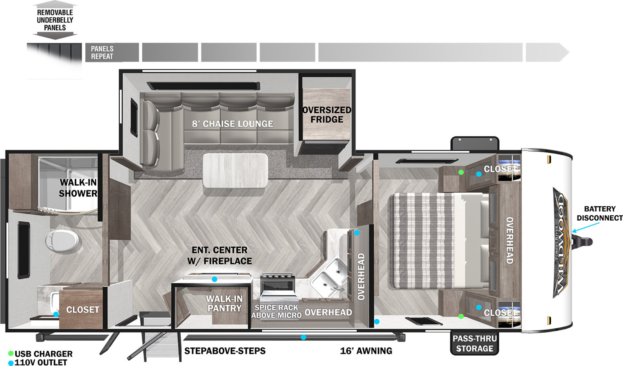 View Floor Plan for 2022 FOREST RIVER WILDWOOD 22RBS