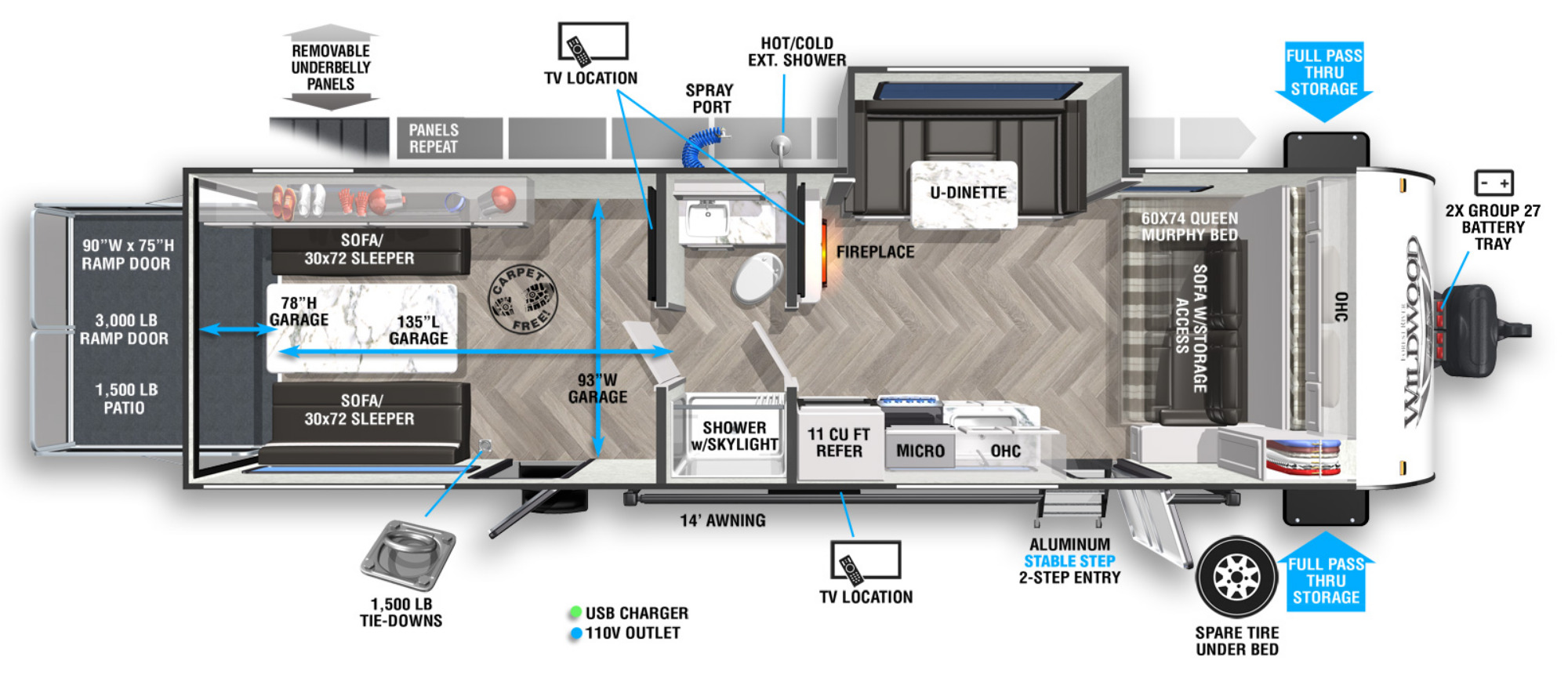 View Floor Plan for 2022 FOREST RIVER WILDWOOD FSX 280RTX